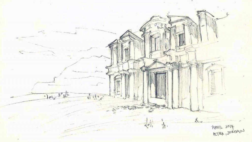sketch of the monastery, petra, jordan travel destination