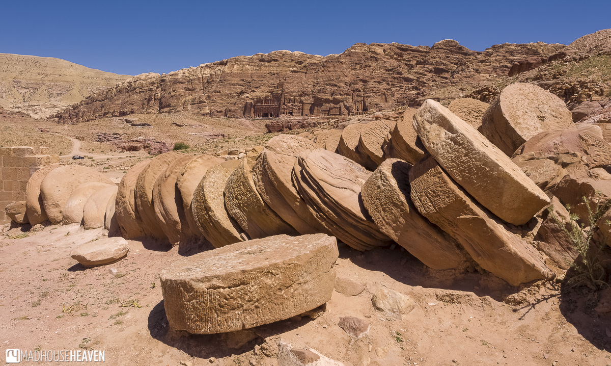 Ruin of ancient Roman temple built onto the Nabatean Valley of the Kings, Petra, Jordan
