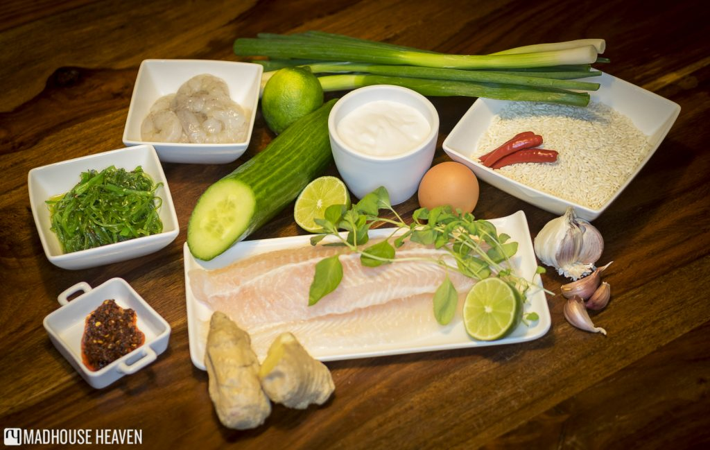 Ingredients, postmodern thai burger, wakame salad, prawns, white fish, sticky rice, chillies