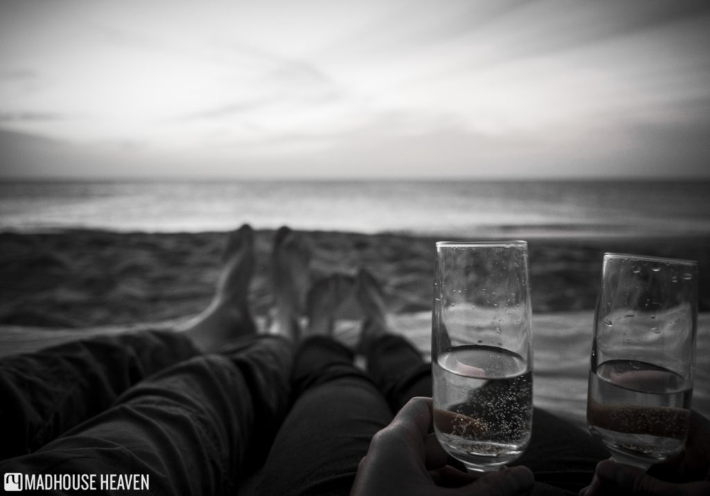 Chilling out on Sal beach with Italian wine after the Santa Marilha horse excursion.