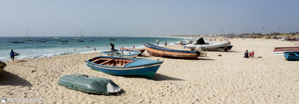 cute colourful boats on beach santa maria sal island cape verde