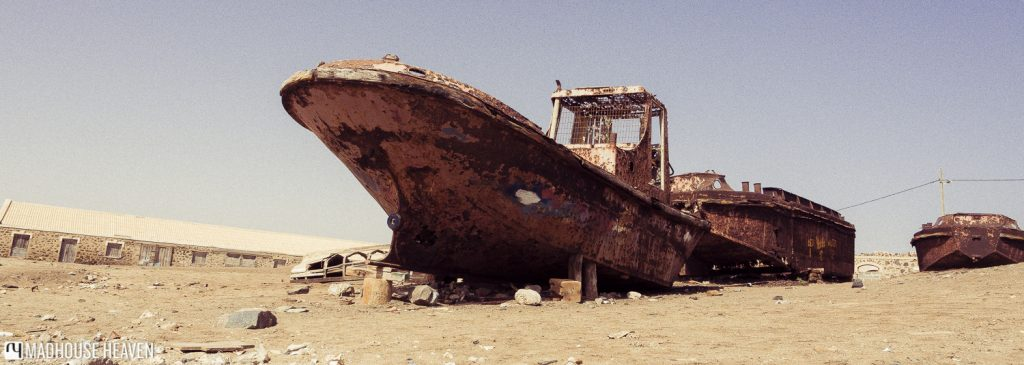 rusty boat on beach Sal island cape verde