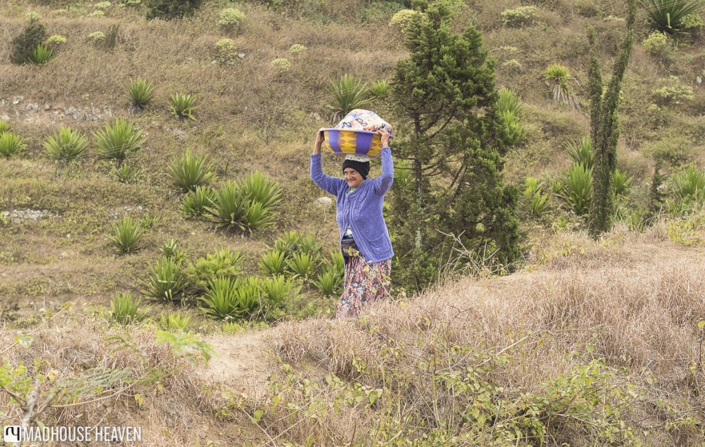 hiking on brava woman selling local cheese cape verde