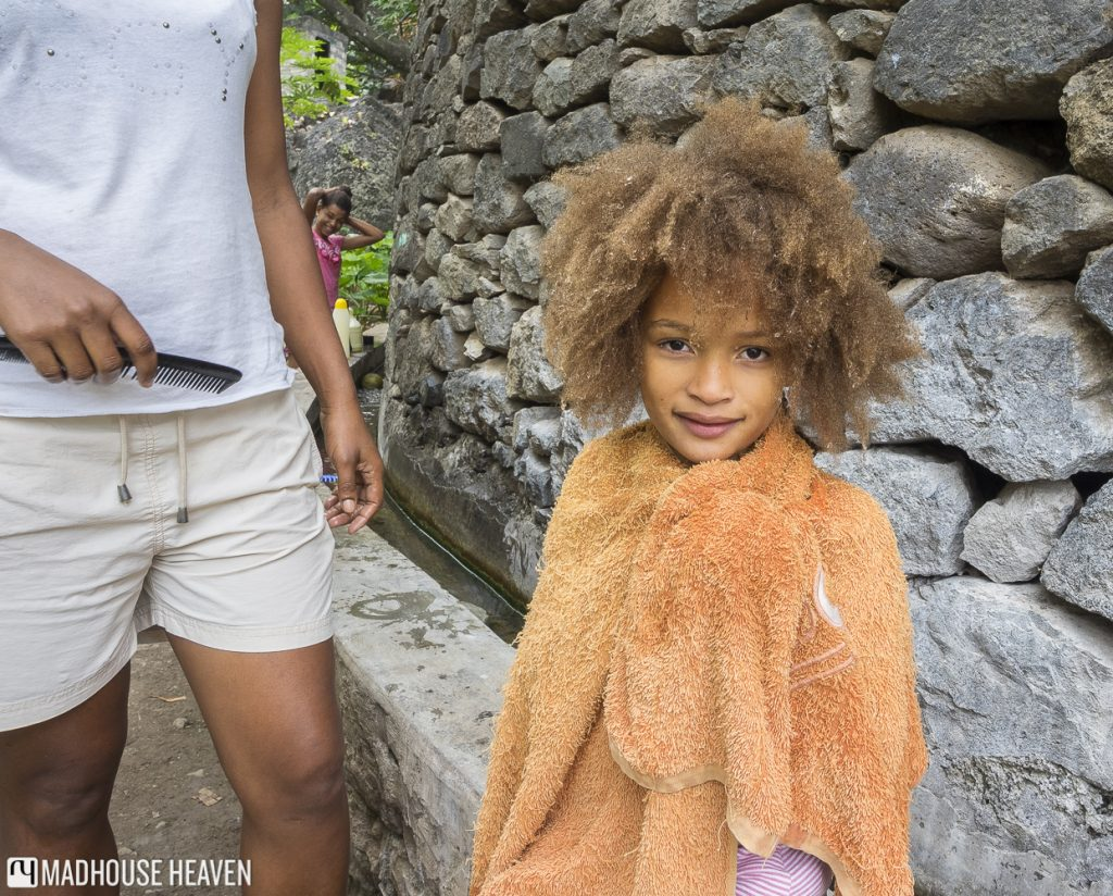 Hiking Paúl Valley cape verde santo antao cape verdean girl bathing amazing hair, Boca de Figueiral