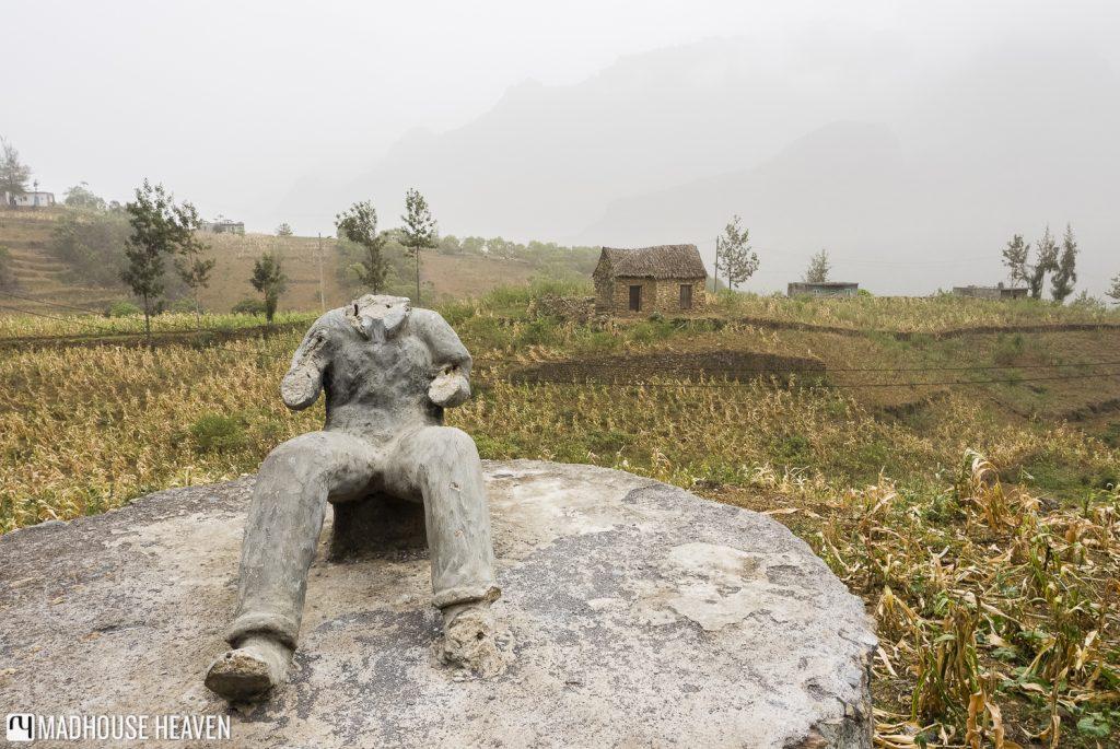 headless stone statue in the village of Ribeirão, hiking in valley of Chã de Pedras, Santo Antão, Cape Verde