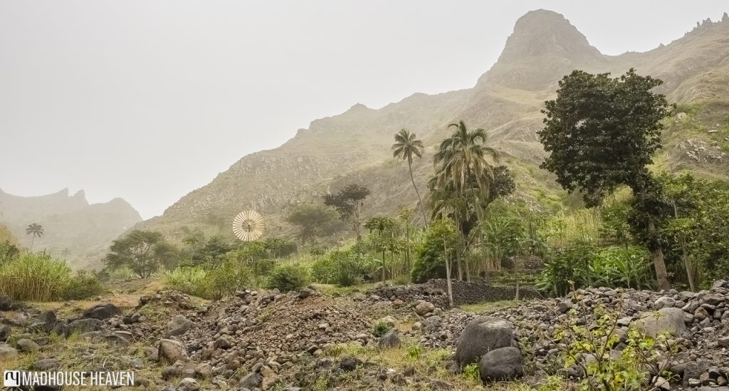 Hiking through cultivated farm land in The Three Valleys, Fajã de Coculi, Santo Antao, Cape Verde