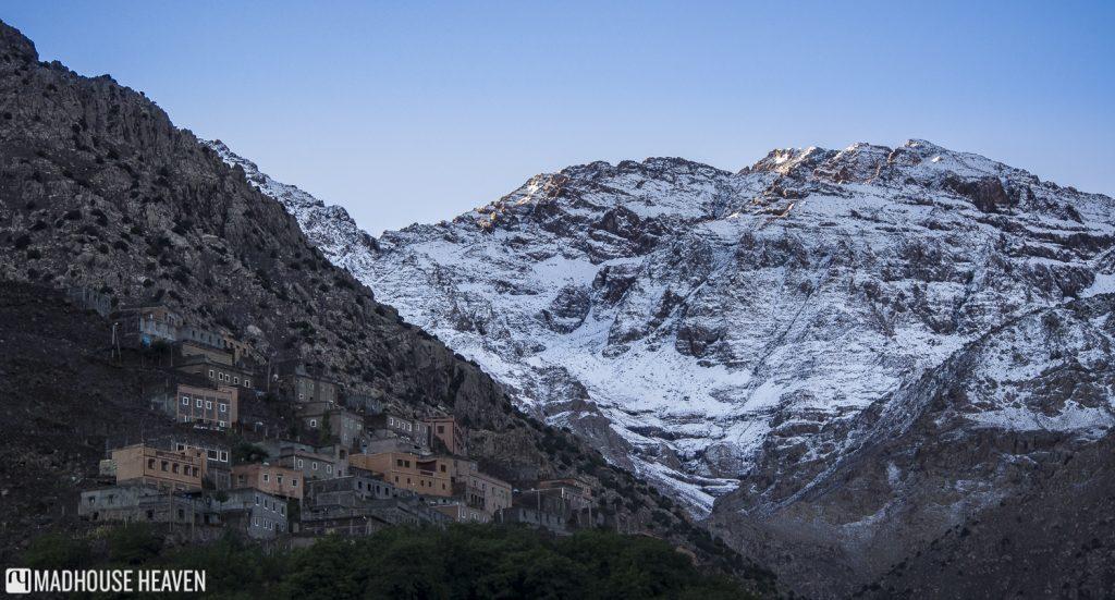 Berber Castle Kasbah du Toubkal, glacier, atlas mountains, morocco, small village