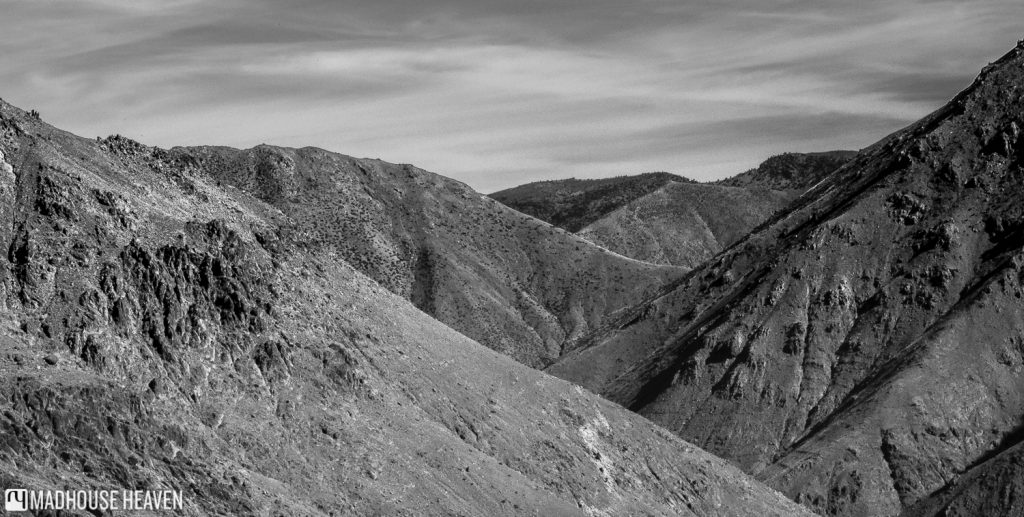 Black and white panorama - Hiking in the Atlas Mountains