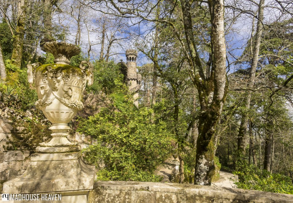 The enchanted forest shrouding the statues and Gothic towers inside Quinta da Regaleira