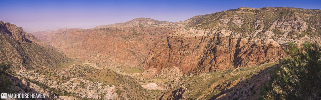 panorama of dana valley, blooming desert, trekking in jordan dana nature reserve