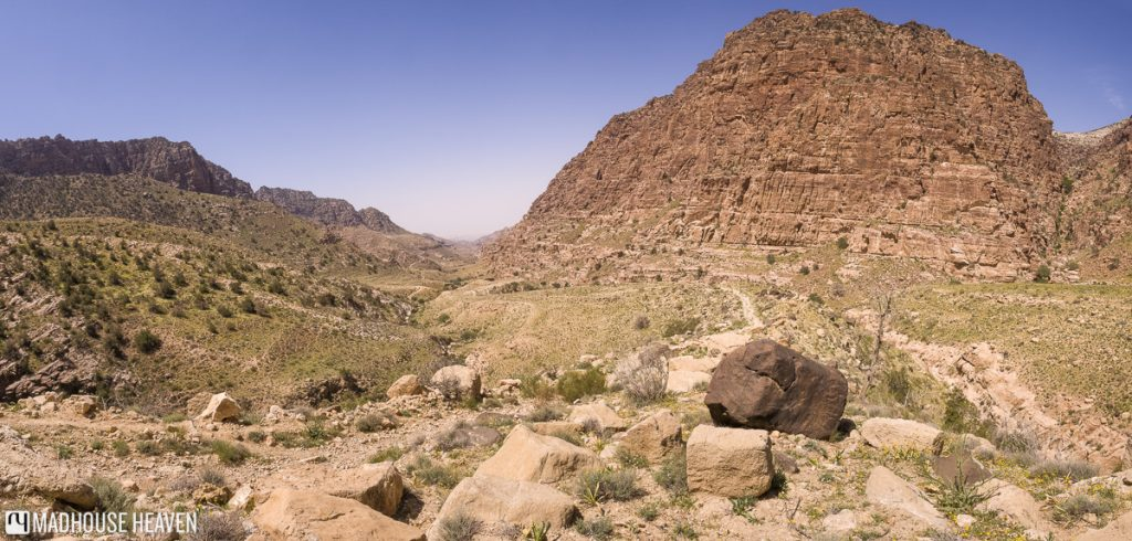 trekking the 16km trail across dana valley from Dana Guesthouse to Feynan Ecolodge