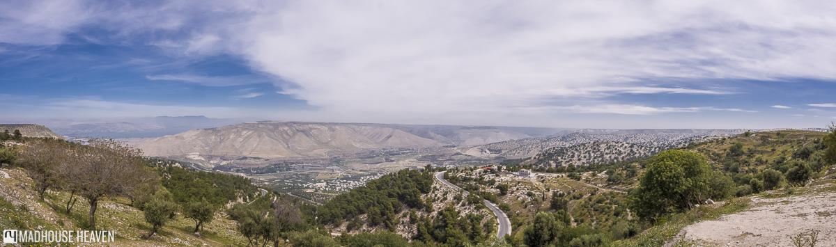 panorama of golan heights, um qais, jordan tipping and bargaining