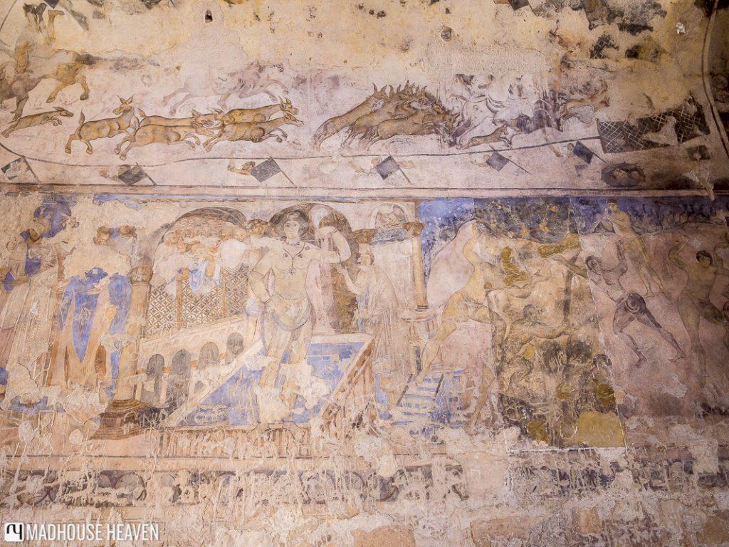 Islamic art, fresco depicting nude bather, Qasr Amra, desert castles, jordan