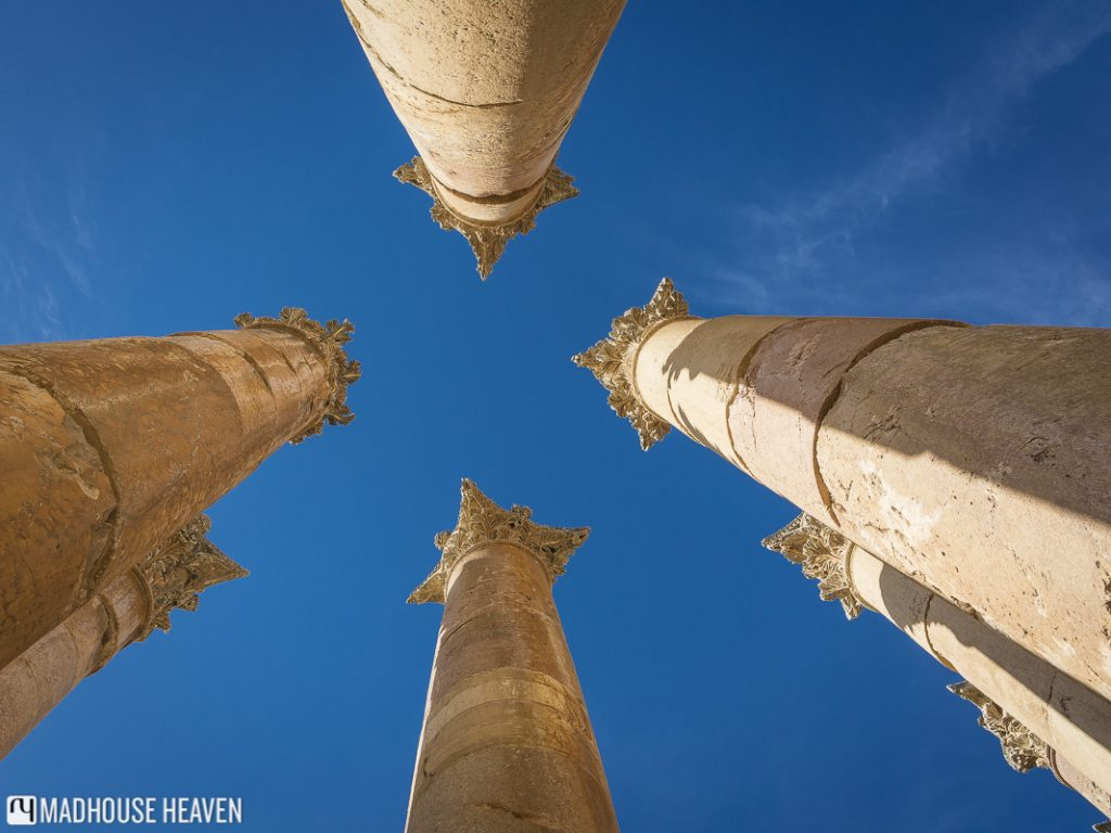 Corinthian columns, at the Temple of Artemis, 3 point perspective, ascending into sky,