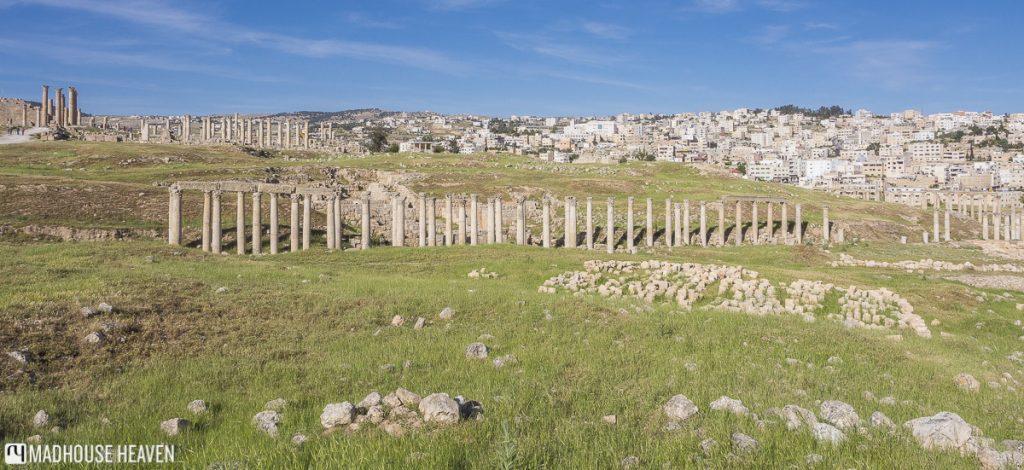 panorama of jaresh, roman ruins, jordan travel destination