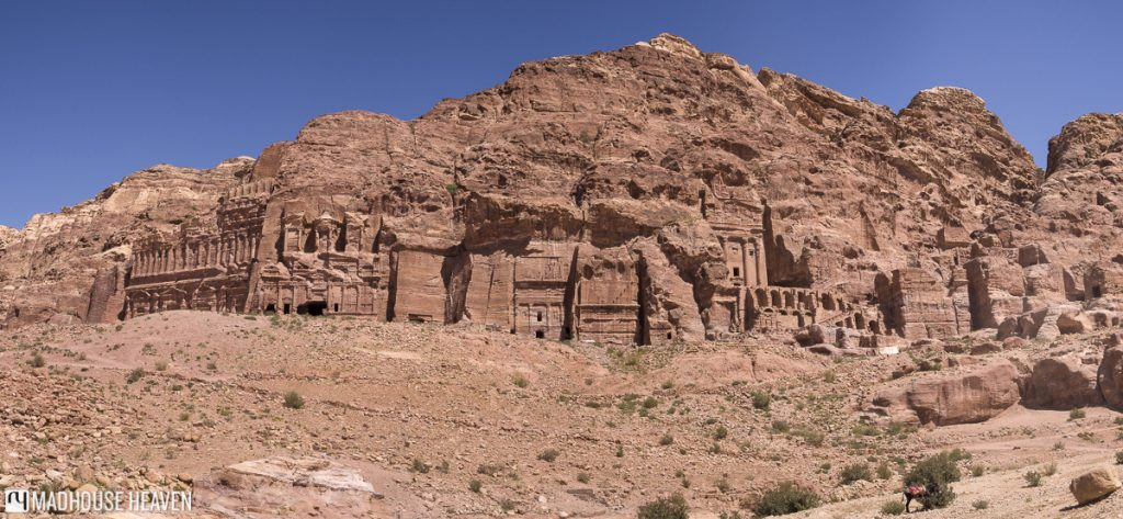 A panoramic view of the Royal Tombs as you walk in the Valley of the Kings