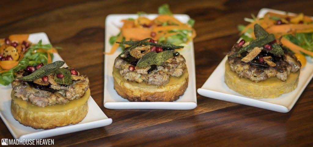 Duck à l'Orange burger, pomegranates, festive burgers on plates, food photography