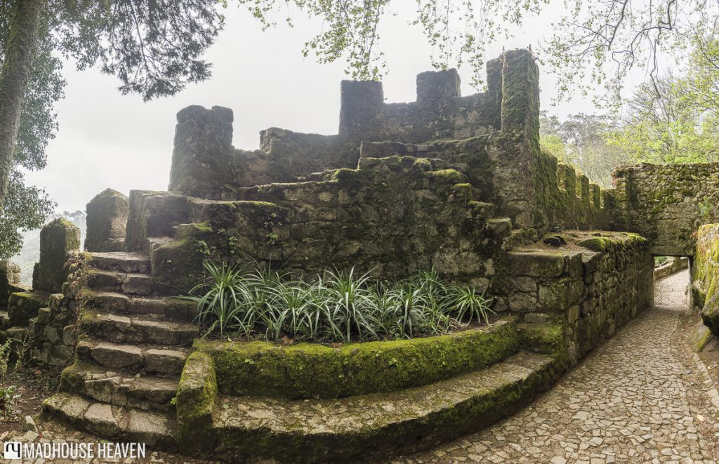 Steps leading up to a stone alter, entrance of Moorish Castle Sintra, medieval islamic castle