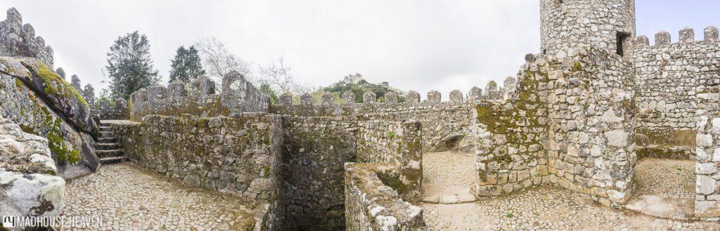 Upper levels of battlements along the Moorish Castle in Sintra