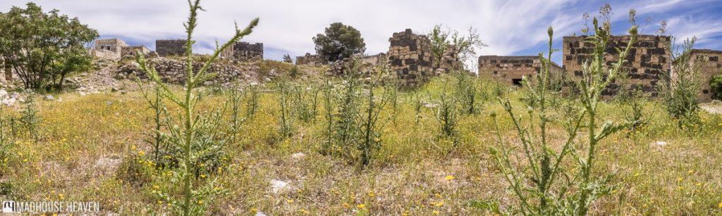 ancient roman ruins of um qais, stone wall, medieval islamic dwelling