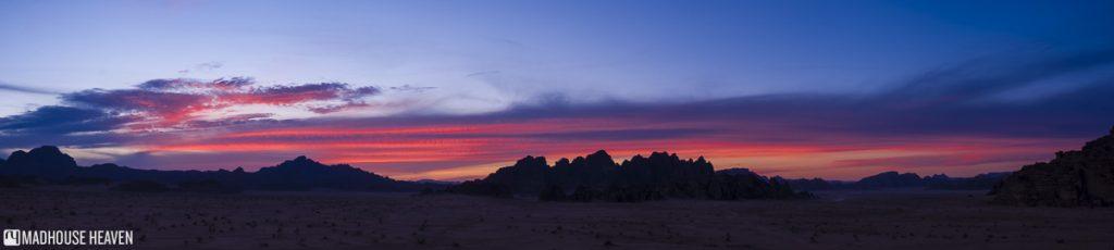 panorama, pink sunset, al ghuroub, visiting wadi rum campfires prehistoric ocean