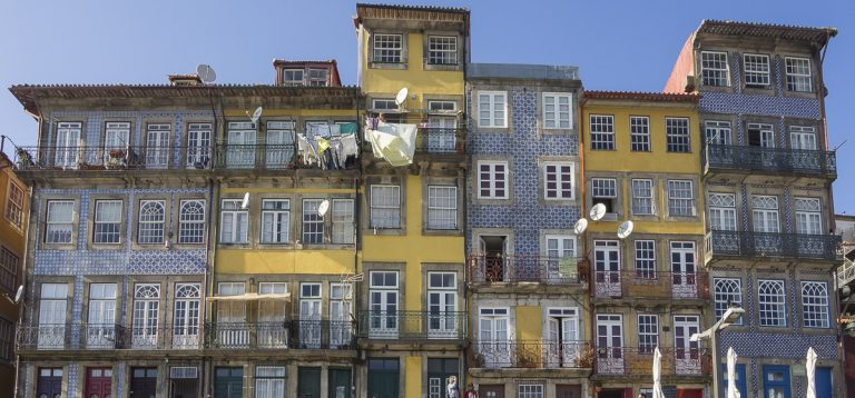 narrow colourful houses quaint streets porto