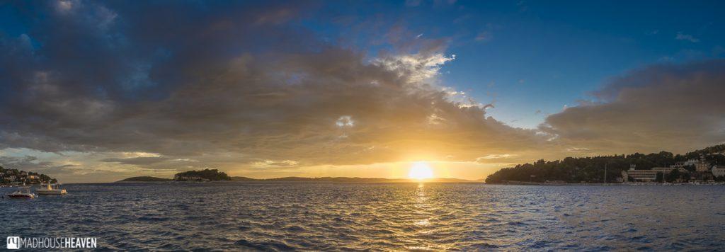 Hvar End of Season, golden sunset, deep blue skies, pearlescent sea