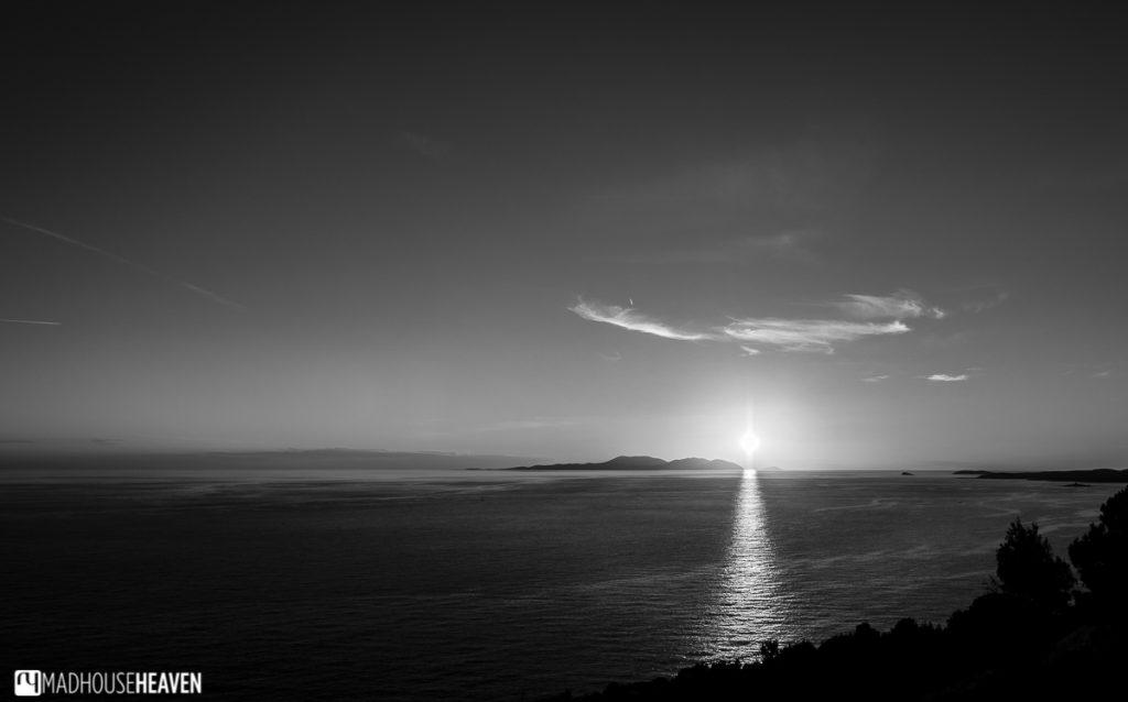 Hvar Island Tour, black and white alien sunset
