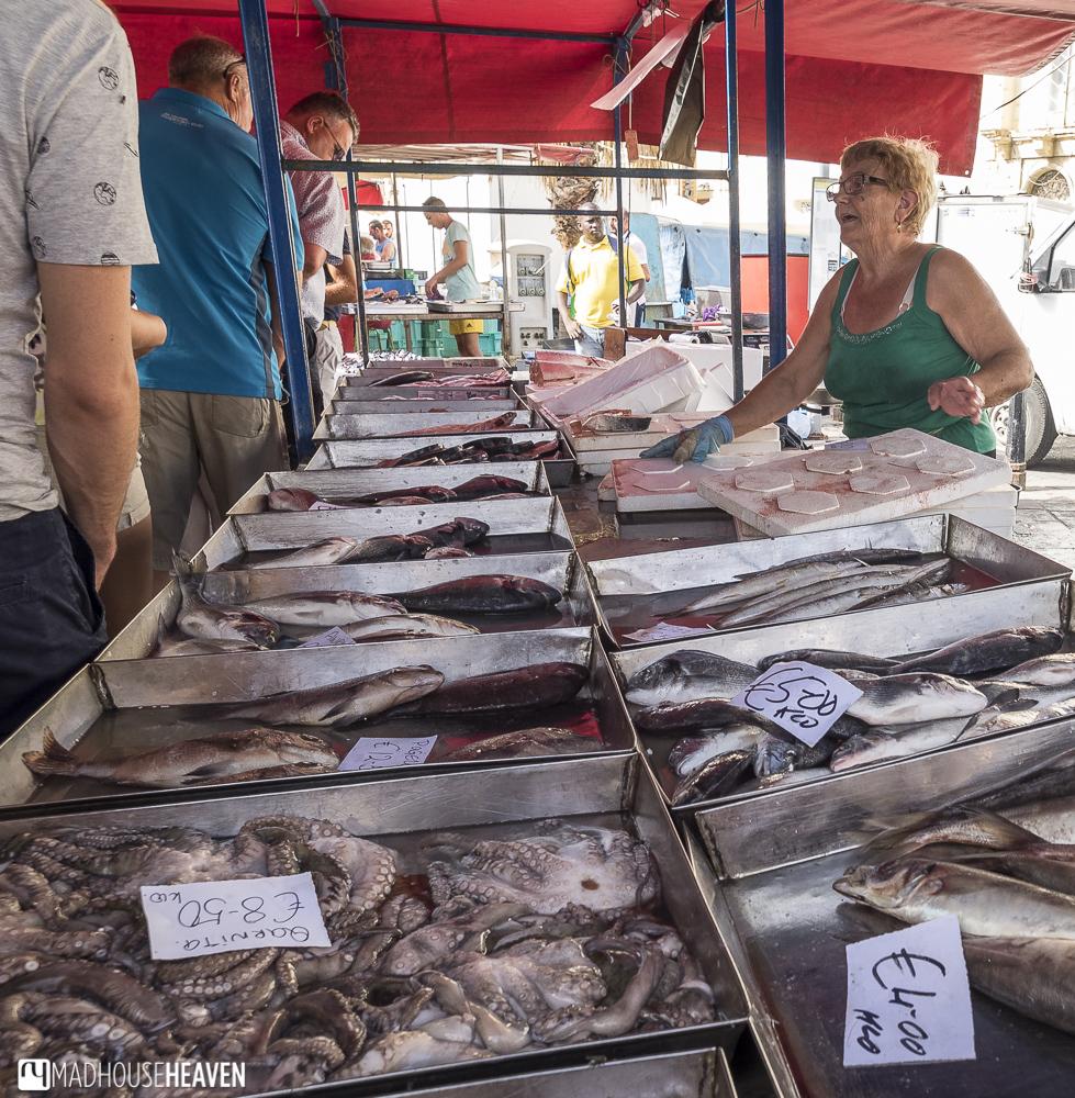 A fresh fish market stall in the Marsaxlokk Sunday Market in Malta