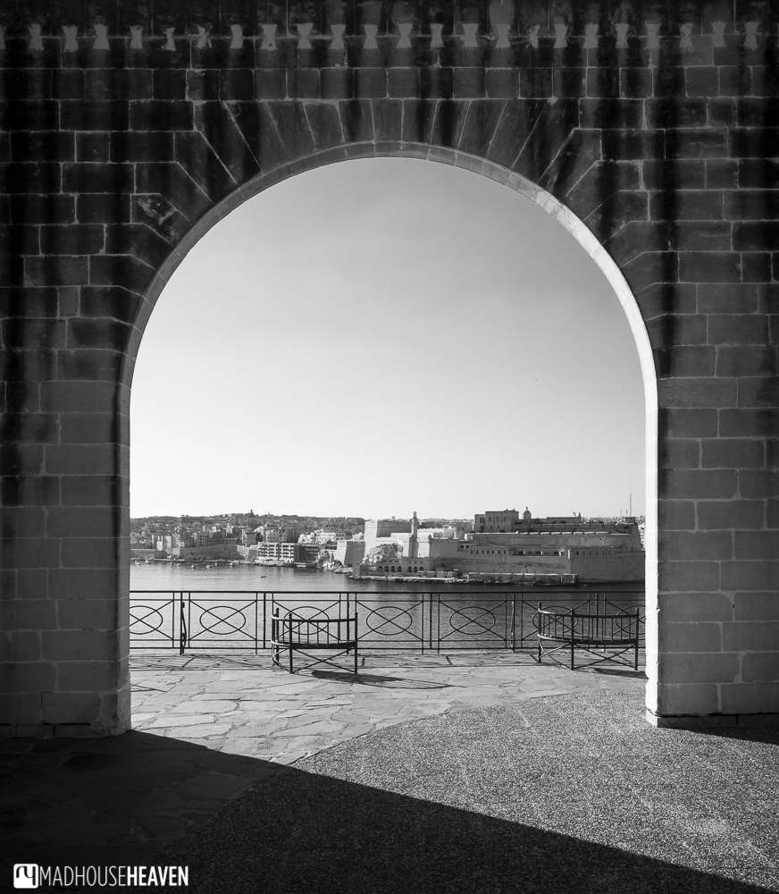 View from medieval arch in Valletta looking onto the sea to the three cities of Birgu, Senglea and Cospicua