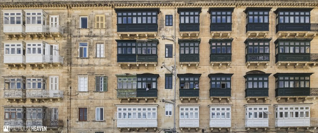 Old European style apartments with Middle-Eastern influence in the bay windows, the renaissance fort city of Valletta