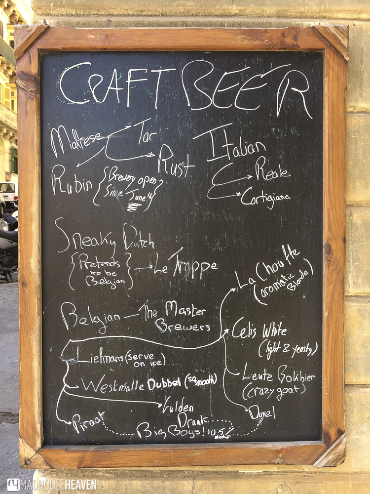 Sign with craft beer from all over the world in the best places for food in valletta