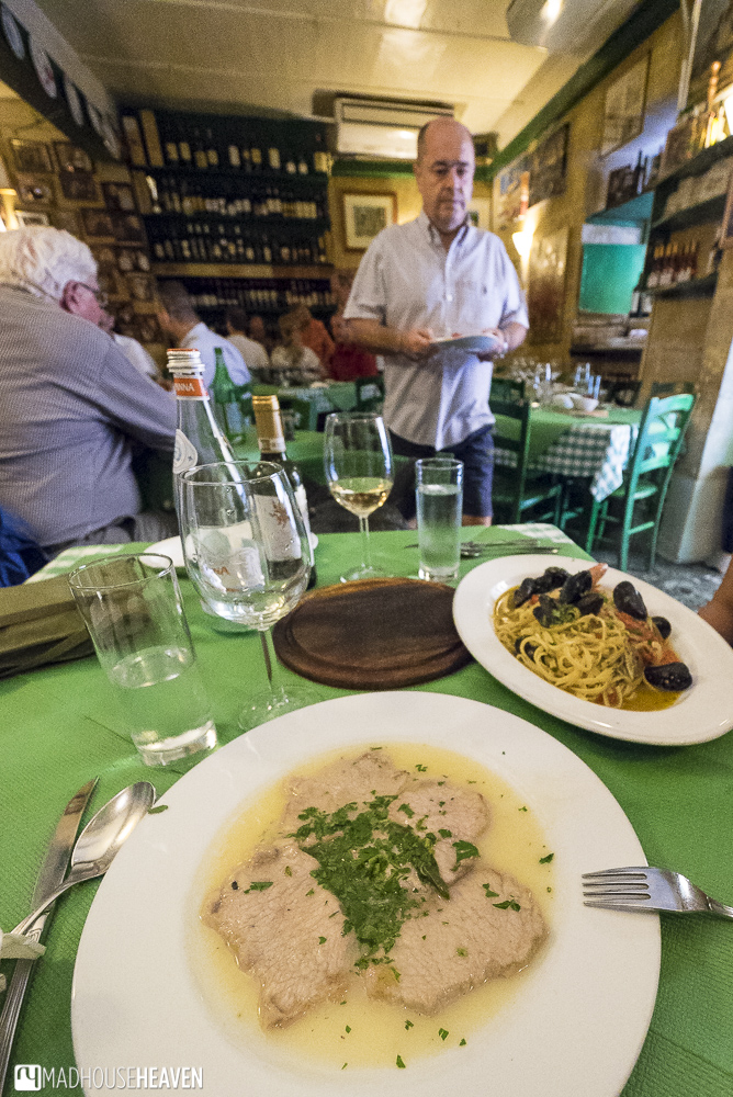 Veal chops and seafood spaghetti at Da Pippo, an Italian restaurant - one of the best places for food in Valletta