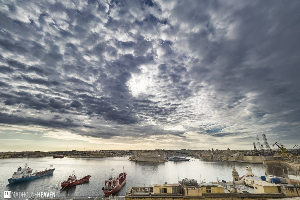 Epic cloudy sky over the medieval bay of Valletta and the three cities, Birgu, Senglea and Cospicua