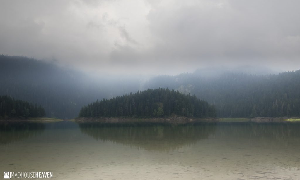 Crno Jezero, a caldera in the mountains of Montenegro on a foggy morning in Durmitor National Park