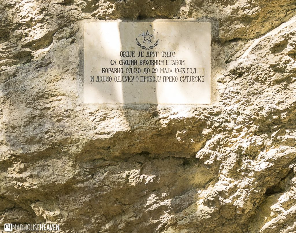 A plaque marking Tito's bunker, in Durmitor National Park, where the partizans planned their attack against the Germans.