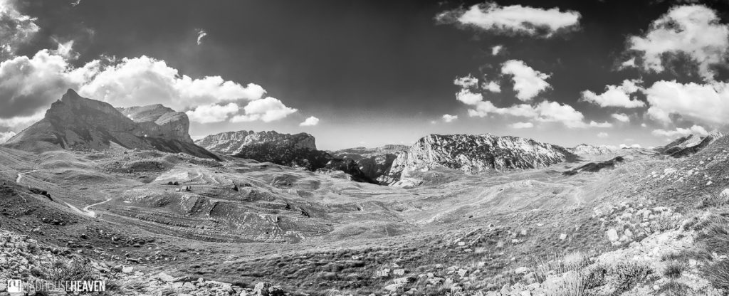 The hike to Škrčko Lake cut across a mesa, a flat table of land surrounded by peaks - Black and white landscape panorama of Durmitor, Montenegro