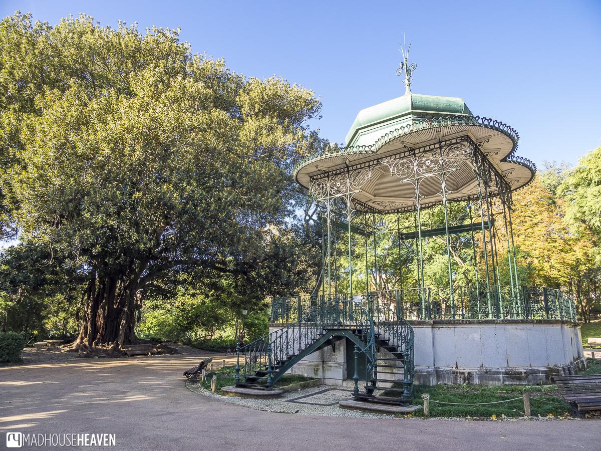Art nouveau art deco steam punk gazebo in the garden Jardim da Estrela churches in lisbon
