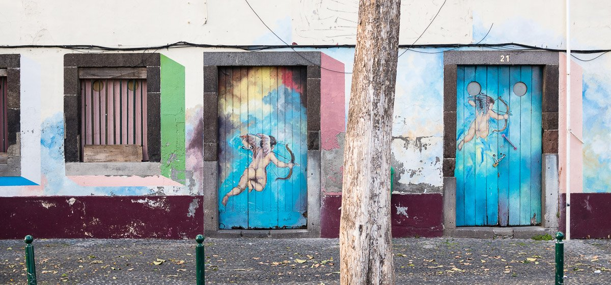 Painted Doors in Funchal, Madeira, Portugal