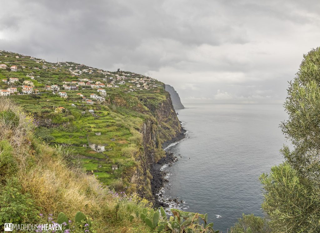 cliffs along the atlantic with farmland, Jeep Tour on Madeira