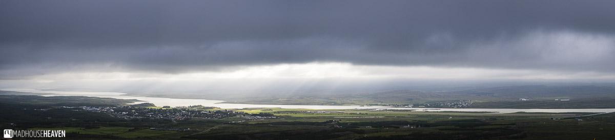 Seyðisfjörður, Iceland, fjord panorama with overcast stormy clouds