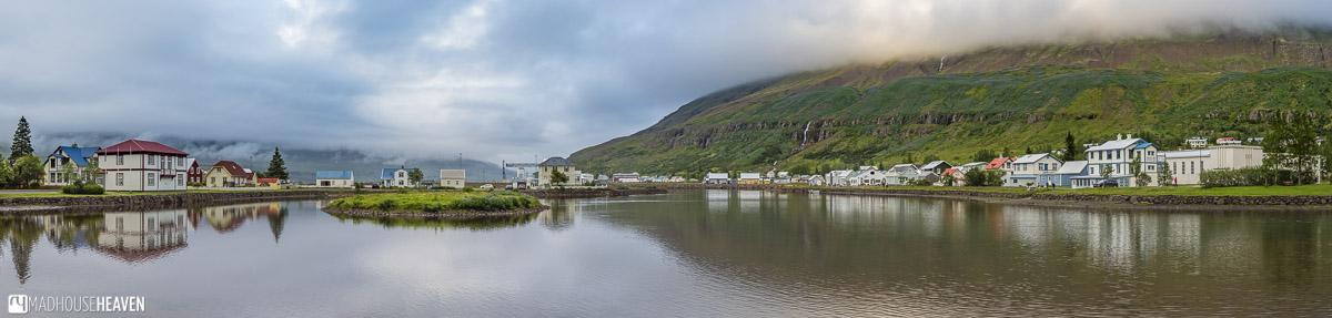 Seyðisfjörður, Iceland, panorama of a quaint Scandinavian town