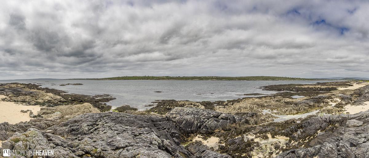 Galway, Connemara, coral beach, Atlantic ocean, storm clouds above
