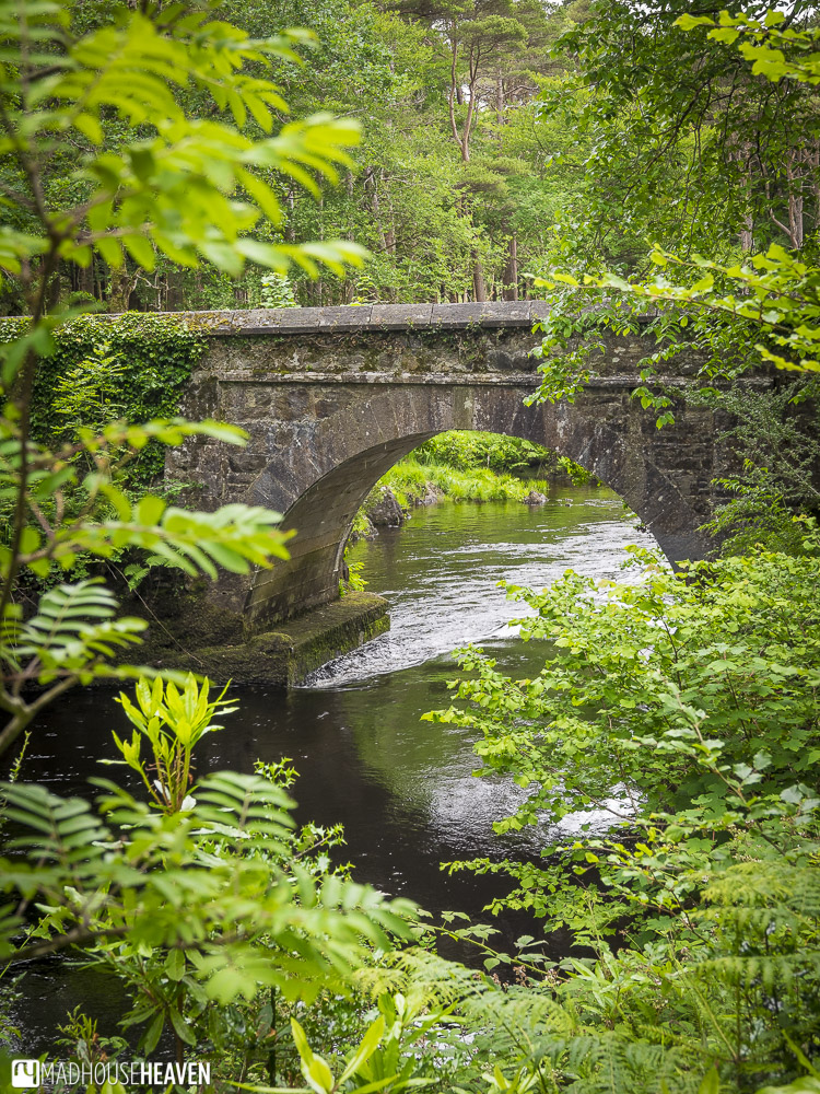 Ballynahinch, Galway, Connemara, Ireland, stone bridge in forest leading to castle