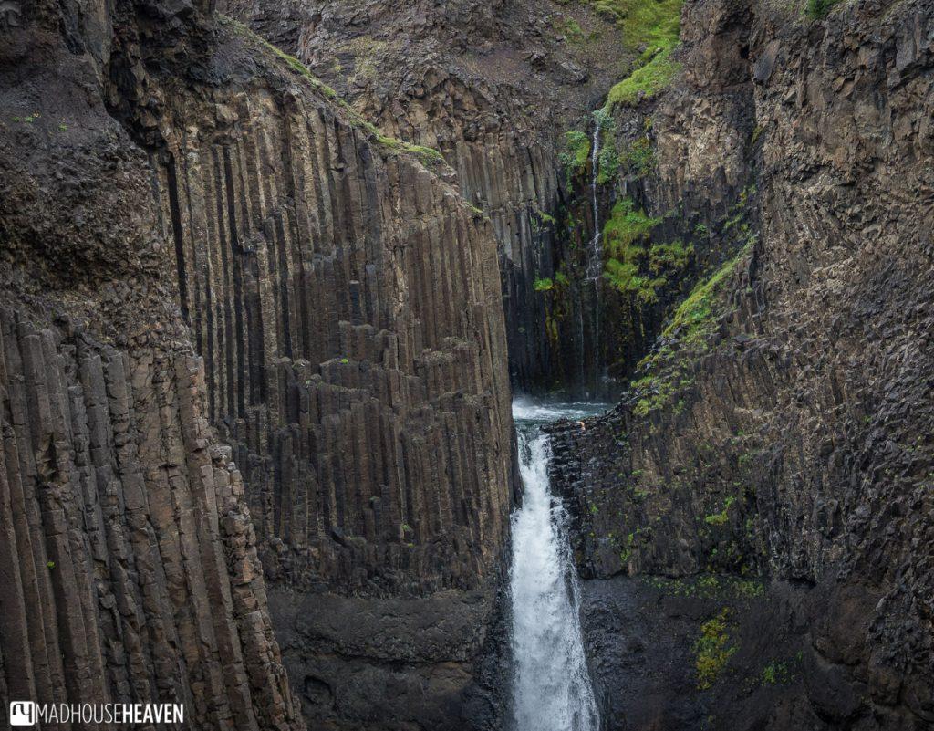 Eastern Iceland, Litlanessfoss, volcanic basaltic columns