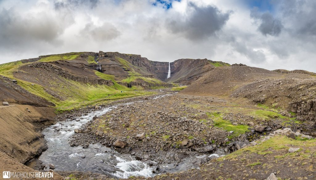 Eastern Iceland, Hengifoss and river, view from the road.