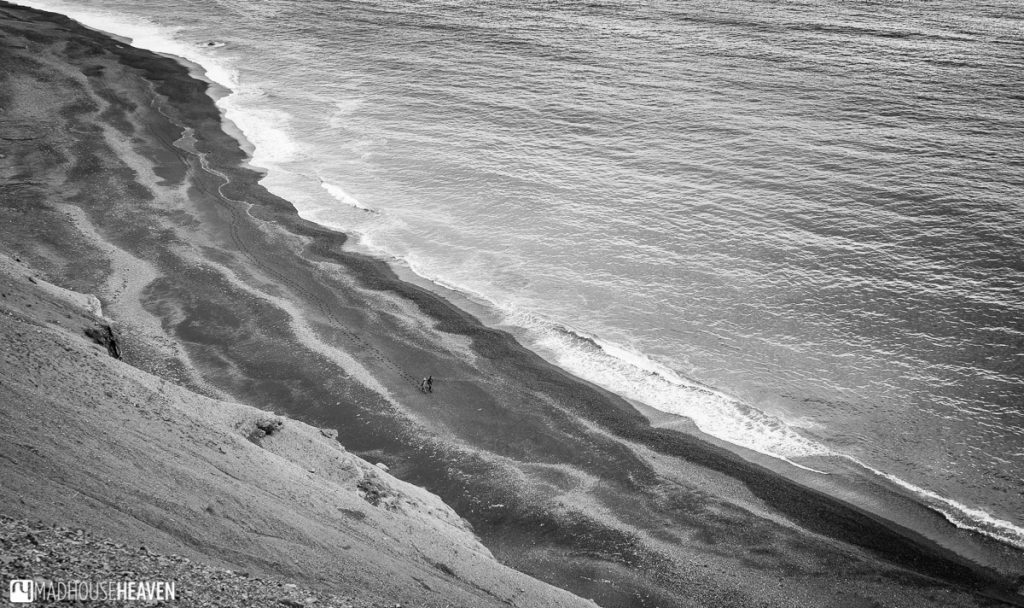 Black and white photo of a black sand beach in Eastern Iceland.