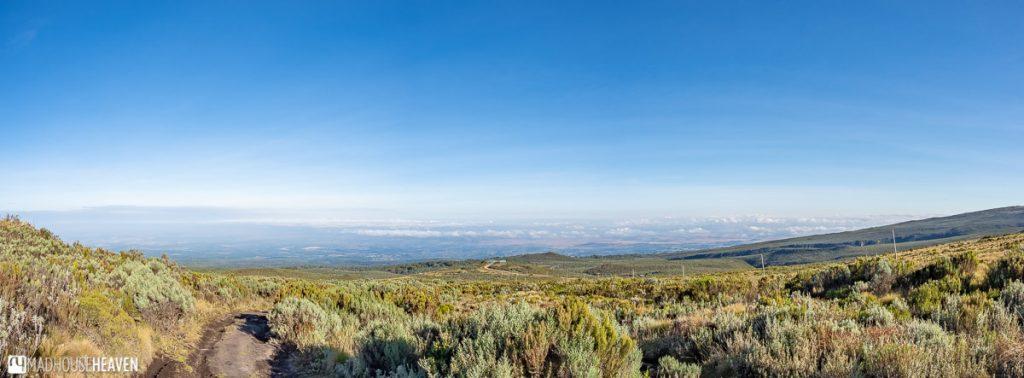 Panoramic view of the savannah that surrounds Mount Kenya