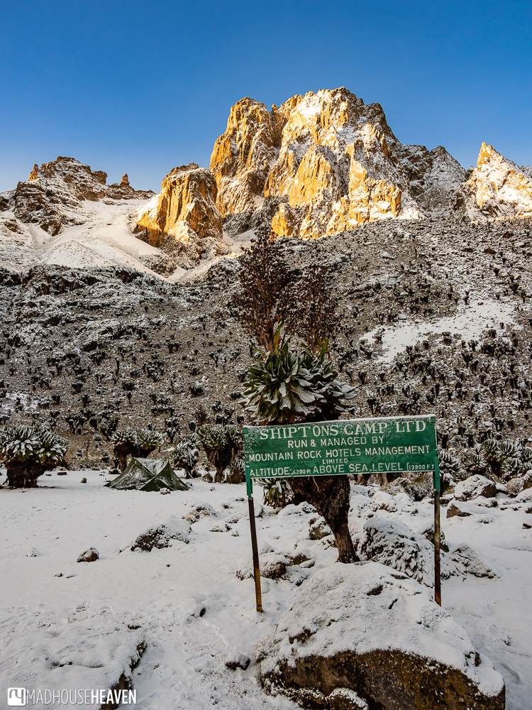 Shipton's Camp, at 4200 meters above sea level, with Mount Kenya peaks in the background