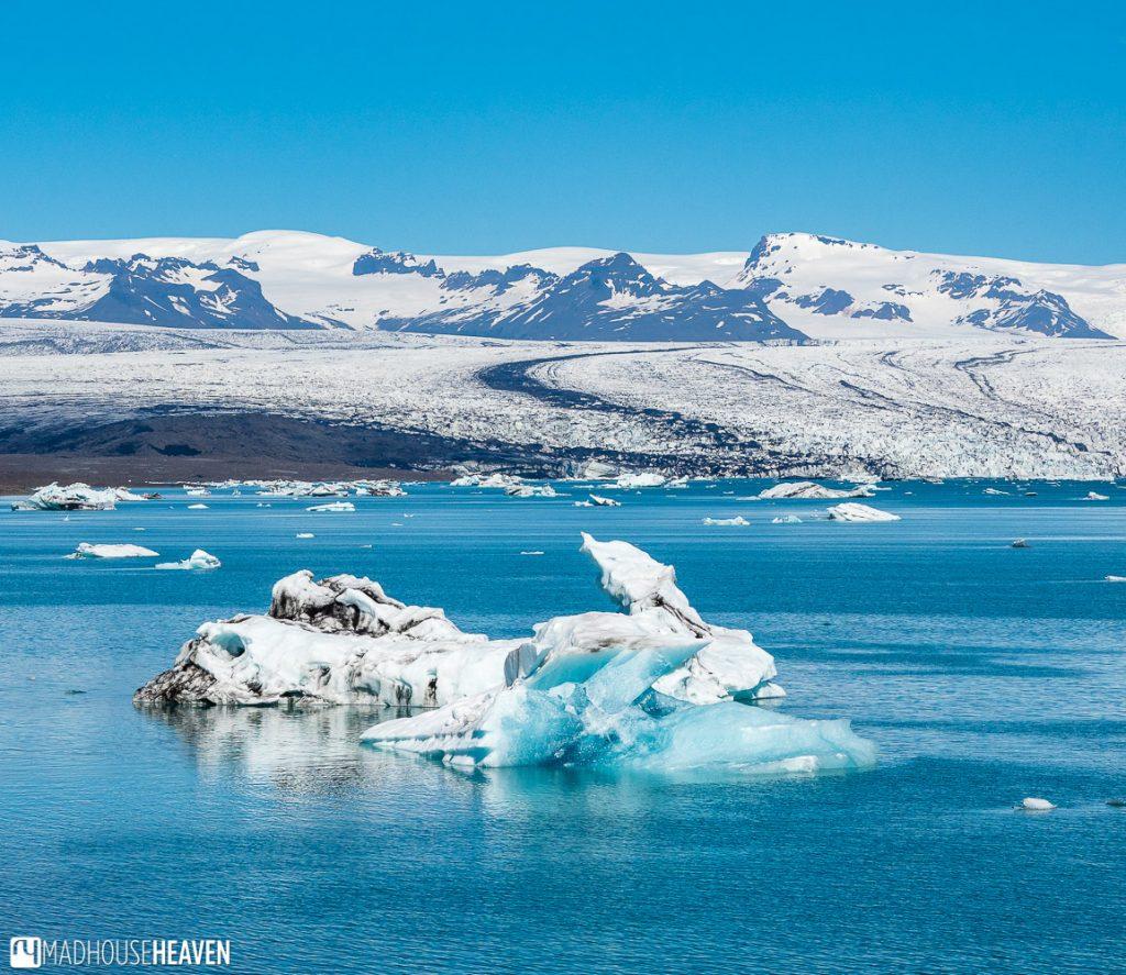 Jökulsárlón Glacier Lagoon and the glacier that produces the blue icebergs
